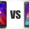 Asus zenfone 2 vs Samsung Galaxy Note 4 - top spécifications et caractéristiques de comparaison