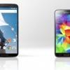 Nexus 6 vs Samsung Galaxy S5 - smartphones meilleurs comparaison